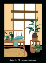 house decorative template flowerpots classic wooden sketch