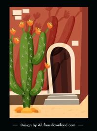 house exterior painting cactus decor retro sketch