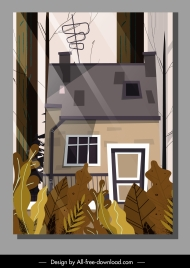 house exterior template colored classic sketch