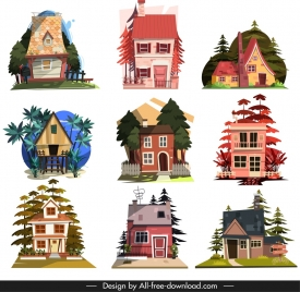 house icons templates classical tile roof decor