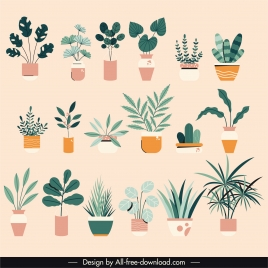 house plants icons flat classic sketch