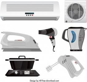 household appliances icons modern electronic equipment sketch
