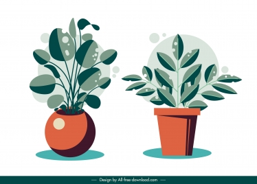 houseplant icons colored classic flat sketch