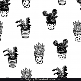 houseplants pattern black white classical handdrawn sketch