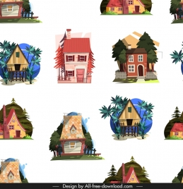 houses pattern colorful classical repeating sketch
