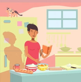 housewife background pastry work icon cartoon design