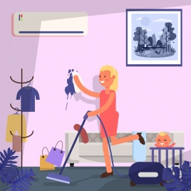 housewife background woman cleaning icon cartoon character