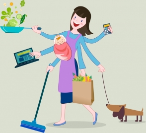 housewife icon woman hands housework symbols