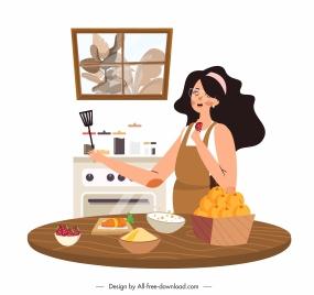 housewife work background lady kitchen utensils cartoon design
