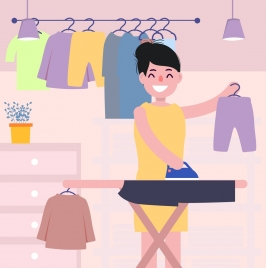 housewife work background woman ironing icon cartoon design