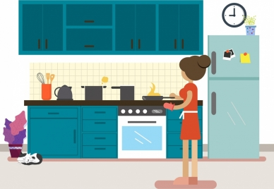 housewife work drawing kitchenware woman icons colored cartoon