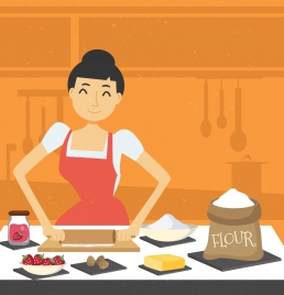 housewife work drawing woman flour ingredients icons