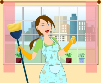 housewife work drawing woman icon colored cartoon design