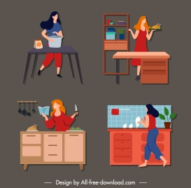 housewife work icons colored cartoon sketch