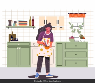housewife work painting cooking activity sketch cartoon design