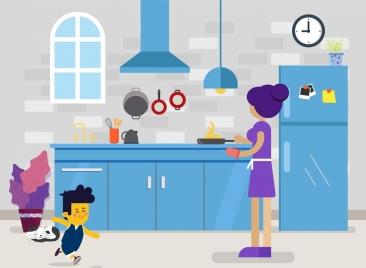 housework drawing woman son kitchen icons cartoon design