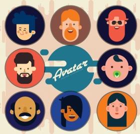 human avatar collection round isolation colored cartoon design