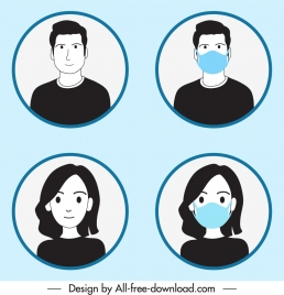 human avatar icons masking instruction sketch cartoon characters