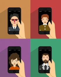 human avatar icons smartphones portrait isolation