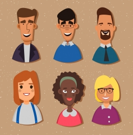 human avatars collection colored cartoon icons