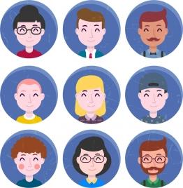 human avatars collections facial icons circle isolation
