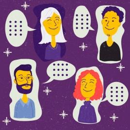 human avatars icons conversation decor colored cartoon characters