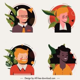human face avatars icons cartoon characters sketch