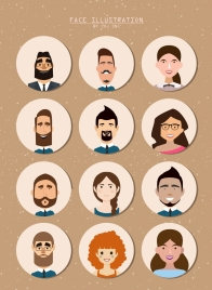 human faces collection colored cartoon circles isolation