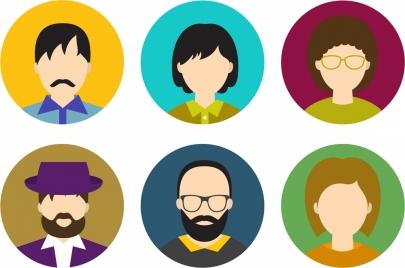 human faces collection various draft design
