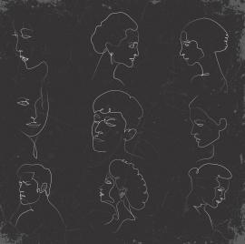 human faces sketch blackboard chalk handdrawn