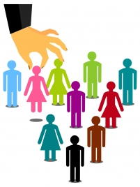 human icons illustration with hand holding symbols