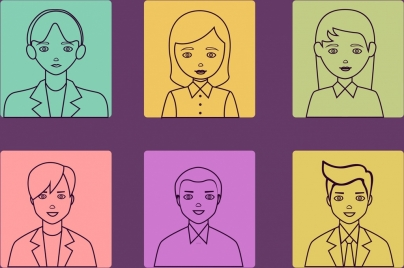 human icons outline various colored flat design