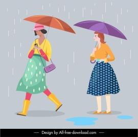 human icons rain season lifestyle sketch cartoon characters