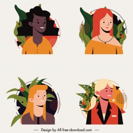human portrait avatar icons women face sketch