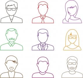 human portrait icons outline colored flat design