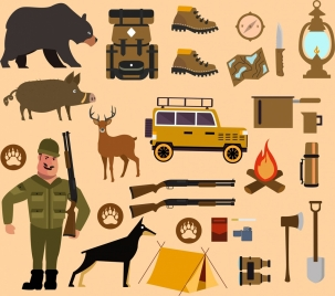 hunting camp design elements various colored icons