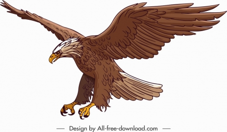 hunting eagle icon colored cartoon design