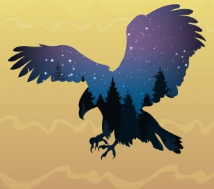 hunting eagle icon silhouette design starry sky background