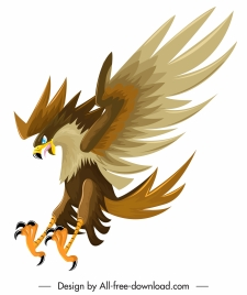 hunting falcon icon violent gesture colored cartoon sketch