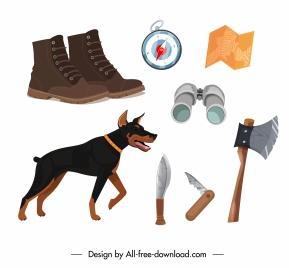hunting job design elements dog personal tools sketch