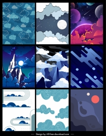 hydrometeorology background templates moon cloud mountain sketch