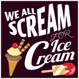 ice cream advertisement colored icon big white words