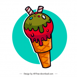 ice cream icon colorful flat sketch colorful classic