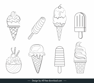 ice cream icons black white handdrawn sketch