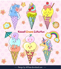 ice cream icons cute colorful stylized decor