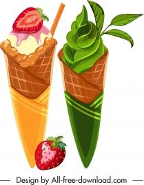 ice cream icons fruity matcha decor colorful design