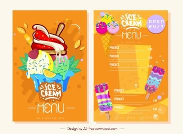 ice cream menu bright colorful flat decor