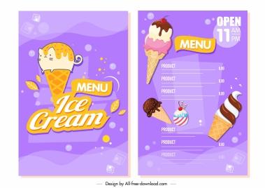 ice cream menu template colorful flat modern decor