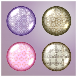 icons of multicolored pattern balls on plain background
