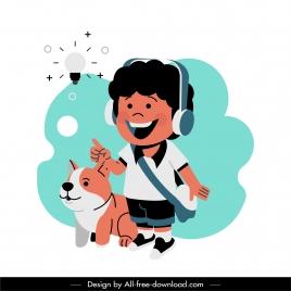 idea background schoolboy lightbulb puppy sketch